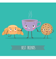 Cute characters croissant cookies with chocolate vector image vector image