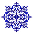 decorative flower blue and white vector image vector image