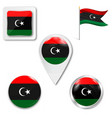 flag button series - libya vector image vector image
