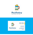 flat beer glass logo and visiting card template vector image vector image