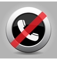 gray chrome button - no telephone handset vector image