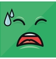 green emoticon crying graphic vector image vector image