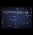guitar on a blue vector image vector image