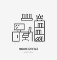 home office study room flat line icon apartment vector image