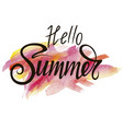 inscription hello summer on watercolor background vector image vector image