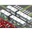 Isometric Long Bus in Front View vector image