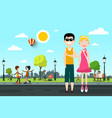 man and woman on street with people in city park vector image vector image