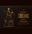 merrry christmas party card golden xmas tree vector image