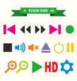 multicolored icons with tape on topic player vector image vector image