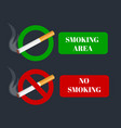 No smoking and smoking area labels with tobacco