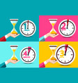 one two three four minutes clock icons time vector image vector image
