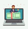 online money prize lottery reward internet award vector image vector image