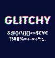 realistic glitch font set vector image vector image