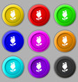 rose icon sign symbol on nine round colourful vector image