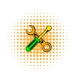 Screwdriver and spanner comics icon vector image vector image
