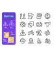 set games simple lines icons modern vector image