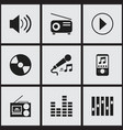 set of 9 editable media icons includes symbols vector image vector image