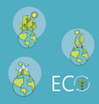 set of eco icons and symbols vector image