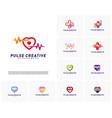 set of love medical pulse logo design vector image vector image
