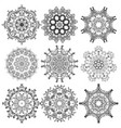 set of round lace pattern vector image