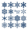 set of snowflakes of different shapes on a white vector image vector image