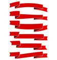 six red cartoon ribbons for web design vector image vector image
