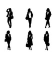 six silhouettes of elegant women vector image