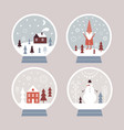snow globes set christmas vector image vector image