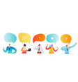 social media network concept characters smartphone vector image vector image