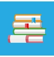 stack of books with bookmarks vector image vector image