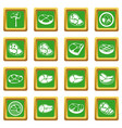steak icons set green vector image vector image