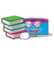student with book pencil case character cartoon vector image vector image