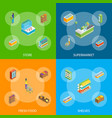 supermarket or shop banner set isometric view vector image vector image