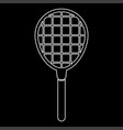 tennis racquet white color icon vector image vector image