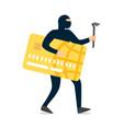 thief hacker stealing sensitive data and money vector image vector image