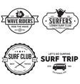 vintage surfing emblems for web design or print vector image vector image
