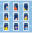 window neighbourhood people looking out window vector image vector image