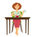 woman having breakfast at table isolated female vector image
