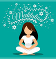 woman meditating with flowers vector image