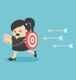 Businesswoman running arrows vector image