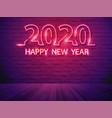 2020 happy new year with neon light alphabet vector image