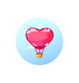 airship balloon heart stylish icon in flat style vector image vector image