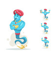 arabian genie turban magic lamp smoke cartoon vector image vector image