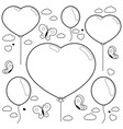balloons and butterflies flying in sky vector image vector image