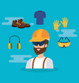 builder constructor with equipment vector image