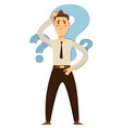 businessman taking decision hesitation and doubt vector image