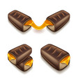 chocolate bar with caramel isolated on white vector image vector image