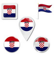 croatia wavy flag and coat arms against white vector image vector image