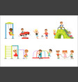 cute cartoon little kids playing and having fun at vector image vector image