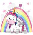 cute cartoon unicorn and rainbow vector image vector image